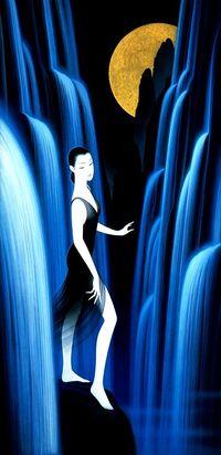 Аватар вконтакте Восточная девушка в черном платье стоит на камне среди горных водопадов, на фоне ночного неба с полной Луной, by Ichiro Tsuruta