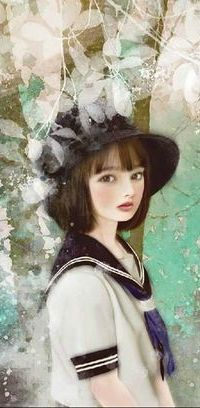 Аватар вконтакте Девушка в морском костюмчике и шляпе стоит в пол-оборота под деревом, by Miharu Yokota
