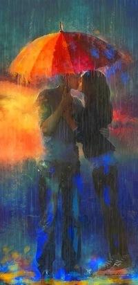 Аватар вконтакте Влюбленная пара целуется, спрятавшись от дождя под раскрытым красным зонтом, by Juan Pablo Castillos