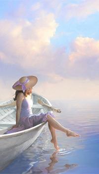 Аватар вконтакте Сидя в лодке, девушка в соломенной шляпке беззаботно болтает ногами в воде, поднимая кучу рададужных брызг, любуясь уходящим за горизонт морем и кучевыми облаками над ним, by James V Griffin