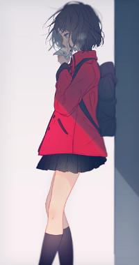 Аватар вконтакте Девушка стоит и ест моти, автор Yuno Tsuitta