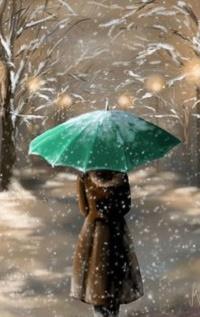 Аватар вконтакте Девушка с зеленым зонтом стоит под падающим снегом, by Veronica Minozzi