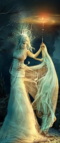 Аватар вконтакте Девушка со светящимся предметом в руке, by funkwood