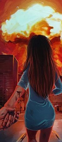 Аватар вконтакте Рука парня держит руку девушки, смотрящей на пламя над городом