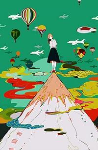 Аватар вконтакте Девушка стоит на вершине горы в окружении летящих самолетов и дирижаблей