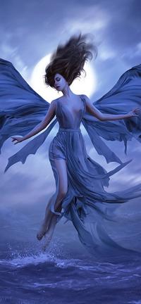99px.ru аватар Девушка в образе ангела, парящая над водой, by moonchild-ljilja