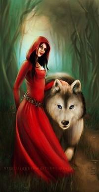Аватар вконтакте Девушка в образе Красной шапочки стоит рядом с волком, by Art-by-Rosegold