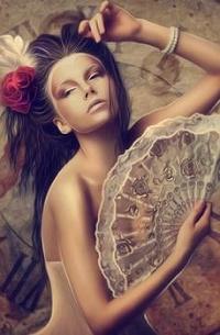 Аватар вконтакте Девушка с розой в волосах и веером в руке, by moonchild-ljilja