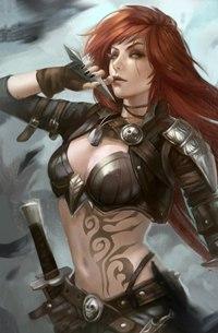 Аватар вконтакте Катарина / Katarina из игры League of Legends / Лига Легенд с кинжалом в руке