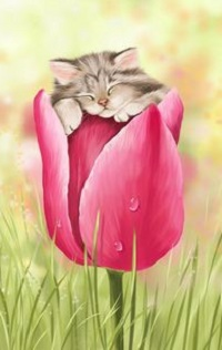 Аватар вконтакте Котенок спит на тюльпане, by Veronica Minozzi