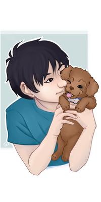 Аватар вконтакте Темноволосый парень обнимает щенка