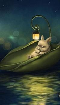 Аватар вконтакте Кролик спит в лодочке-листочке с фонарем, by Veronica Minozzi