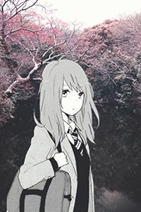 Аватар вконтакте Школьница, вырезанная из манги, на фоне цветущих деревьев сакуры у воды