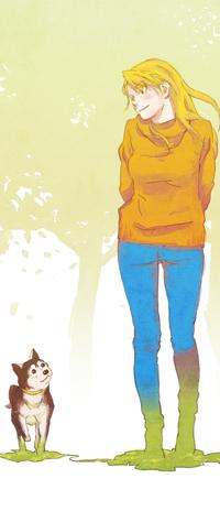 Аватар вконтакте Девушка и собака идут по траве