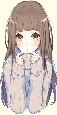 Аватар вконтакте Милая аниме девушка руками оттягивает ворот свитора