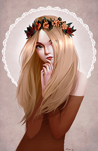 Аватар вконтакте Девушка с руками у лица, автор Renee Chio