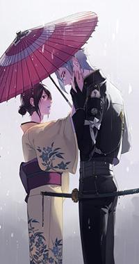 Аватар вконтакте Парень и девушка под зонтом из игры Танец мечей / Touken Ranbu, автор Edamame316