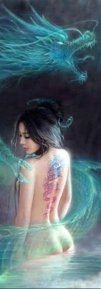 Аватар вконтакте Девушка с голубым драконом