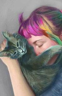 Аватар вконтакте Девушка с цветными волосами обнимает кошку, by SuperPhazed