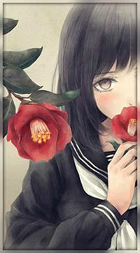 Аватар вконтакте Девушка-школьница с красным цветком у губ, автор Nuwanko