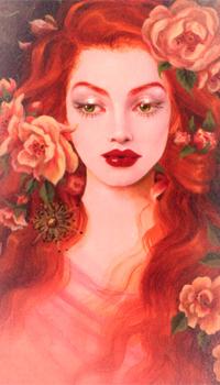 Аватар вконтакте Девушка с розами в красных волосах