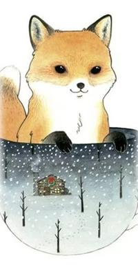 Аватар вконтакте Лиса сидит в кружке с зимним пейзажем