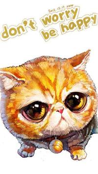 Аватар вконтакте Рыжий кот с колокольчиком на шее (Dont worry be happy), by Chinese Duo Xue Wawa