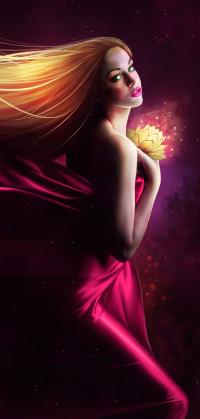 Аватар вконтакте Девушка в малиновом платье, держит в руке светящийся цветок, иллюстратор Orina Kafe