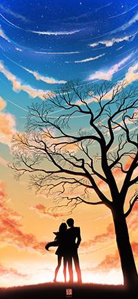 Аватар вконтакте Силуэт парня и девушки, стоящие под деревом, автор Ioruko