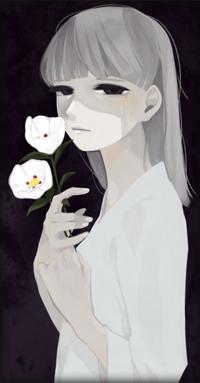 Аватар вконтакте Девушка держит в руке белые цветы