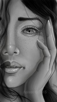 99px.ru аватар Девушка держит руку у лица, by Aoleev