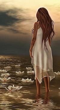 Аватар вконтакте Девушка в белом сарафане стоит в воде с лилиями