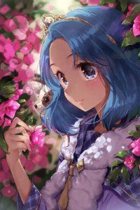 Аватар вконтакте Девочка с собачкой стоит у розовых цветов