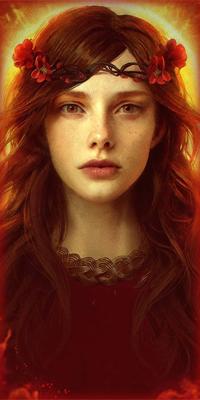 99px.ru аватар Длинноволосая девушка в веночке из красных цветов