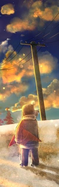 Аватар вконтакте Ребенок стоит на дороге на фоне облачного неба
