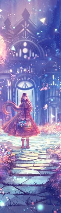 Аватар вконтакте Девочка с цветами в корзине стоит на дорожке