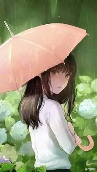 Аватар вконтакте Девушка с розовым зонтом стоит под дождем