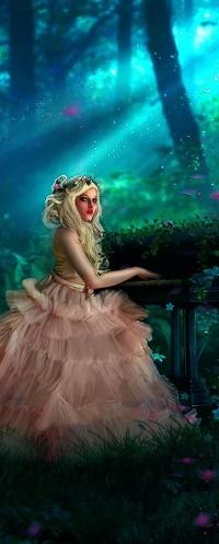 Аватар вконтакте Девушка в пышном платье сидит за роялем в лесу