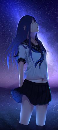 99px.ru аватар Аниме девушка стоит в воде на фоне ночного неба