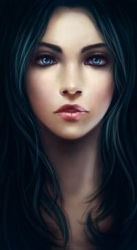 Аватар вконтакте Девушка с голубыми глазами и зелеными волосами
