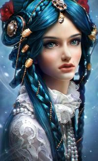 Аватар вконтакте Девушка с голубыми глазами и голубыми волосами, с украшениями и цветами на волосах
