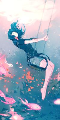 99px.ru аватар Девушка сидящяя на качелях под водой на фоне рыб