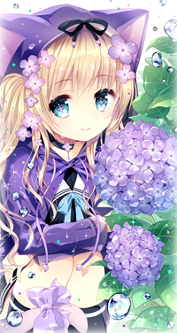 Аватар вконтакте Милая девочка-кошка в плаще сидит возле цветущих веток гортензии