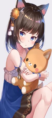 Аватар вконтакте Аниме девушка-нэко обнимает игрушку