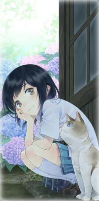 Аватар вконтакте Темноволосая девушка с кошкой сидит у дома возле цветущего кустарника гортензии
