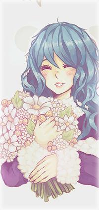Аватар вконтакте Девушка с голубыми волосами держит в руках букет цветов