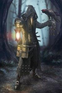 Аватар вконтакте Человек в маске с фонарем среди ночного леса