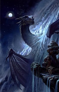 Аватар вконтакте Дракон выглядывает из водопада