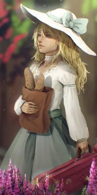 Аватар вконтакте Miyazono Kaori / Каори Миязоно из аниме Твоя апрельская ложь / Shigatsu wa Kimi no Uso в шляпе держит в одной руке пакет с хлебом, а в другой футляр со скрипкой, by Ruiwen-art