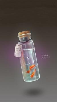 99px.ru аватар Две золотые рыбки в закупоренном пузырьке с биркой на сером фоне, art by Chezakun